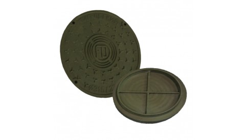 Канализационный люк колодца вн. 575/500 пластиковый коричнево-зеленый
