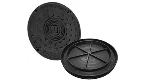 Канализационный люк колодца вн./нар. 575/500 пластиковый черный
