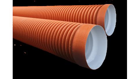 Труба гофрированная двухслойная c раструбом (рыжая) SN6 - SN7 368/315